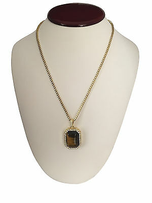 """Mens 14K Gold GP Hip Hop Tiger Eye Dog Tag Pendant Necklace w/ 30"""" Rope Chain"""