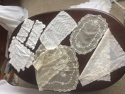 7 VTG Table Runner Dresser Scarf Doilies Nylon Embroidered Lace Cutter Craft Lot