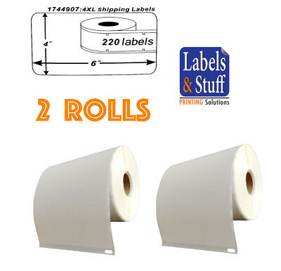 2 Rolls of 220 4x6 Shipping Postage Labels 1744907 compatible For DYMO® 4XL