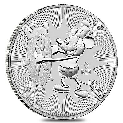 2017 1 oz Niue Silver $2 Disney Steamboat Willie BU
