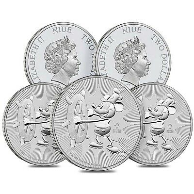Lot of 5 - 2017 1 oz Niue Silver $2 Disney Steamboat Willie BU