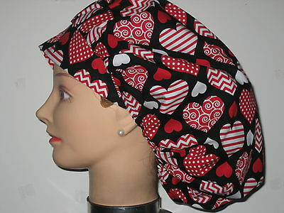 Surgical Scrub Hats/ Caps Valentines Days red & white patterned hearts on black
