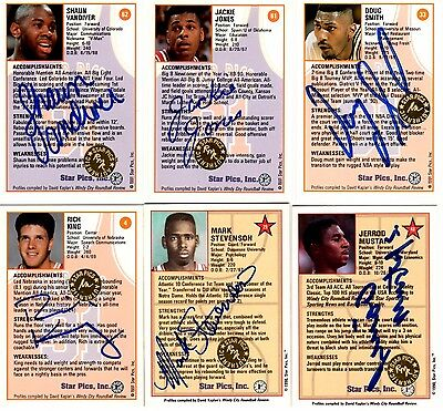 Lot of 4 91 & 2 90 Star Pics basketball certified autograph cards with stickers