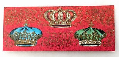 Vintage Christmas Card Colorful Bejeweled Jeweled Crowns Gold Glitter Filigree