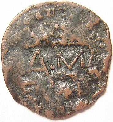 1787 Connecticut Colonial Copper Coin Rare Early Date Counterstamped A.M & ASK