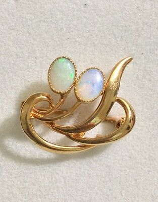New Genuine Solid Opal Brooch 925 Sterling Silver Gold Plated
