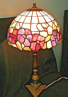 """VINTAGE ART NOUVEAU TABLE LAMP with TIFFANY LEADED STAINED GLASS 12""""  DOME SHADE"""