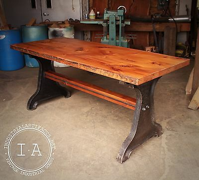 Vintage Industrial Old Growth Pine Pub Table Kitchen Island