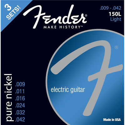 3 Pack Fender Original 150L Pure Nickel Electric Guitar Light Gauge 9-42