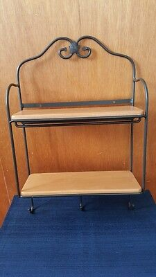 Longaberger Wrought Iron Envelope Wall Rack with 2 Woodcrafts Shelves