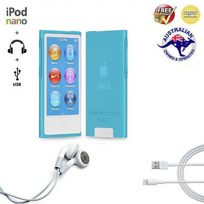 iPod Nano 16GB Gen7 Pack (Blue [Perfect Screen] | New USB Cable & Earbuds)
