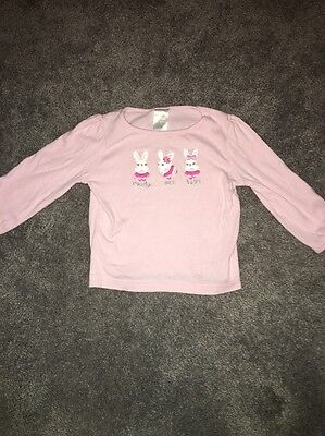 Gymboree Girls Top 18-24 Months Long Sleeves Pink Bunnies