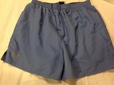 Under Armour size Large Blue Pull On Drawstring Athletic Shorts with liner