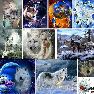 5D DIY Wolf Diamond Painting Embroidery Cross Stitch Kit Home Kids Room Decor