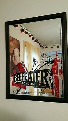 "Beefeater London Mirrored Picture. 21"" × 27"". Good Condition."
