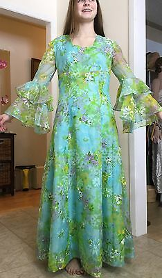 Lovely Vtg Sheer Colourful Floral Hippie BoHo Maxi Dress Tiered Bell Sleeve S-M
