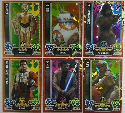 Force Attax Extra STAR WARS HOLOGRAPHIC FOIL Card Set  16 Topps FORCE AWAKENS