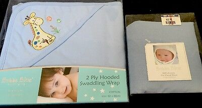 Brand New Blue Baby Swaddle And Fitted Cot Sheet