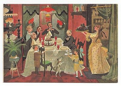 UNUSED Vintage Greeting Card Christmas Victorian Family Dinner Hallmark