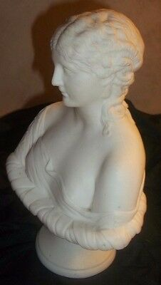 Beautiful Antique Parian Ware Porcelain Bust of Clytie Sea Nymph Signed RC