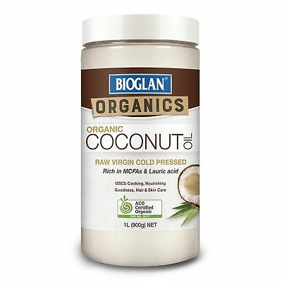 Bioglan Organic Coconut Oil 1L Litre 900G Raw Virgin Cold Pressed Rich In Mcfas