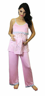 Pink Blue Maternity Nursing Pajama Two Piece Breastfeeding Set Lace Baby Mom