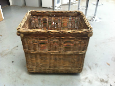 Antique thick cane wicker Laundry Basket, for storage, wood etc