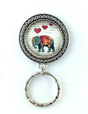 Elephant with Dictionary Art Magnetic Badge Eyeglass Holder