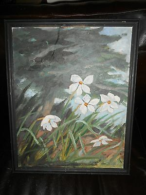 Oil on Canvas Painting of Large White Flowers in Nature Framed