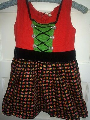 Vintage 60s Girls Red German Dirndl Style Dress Ethnic Floral Woven Apron Costum