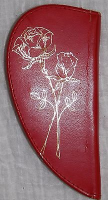 Vintage Red Leather Heart Shaped Zippered Manicure Kit Western Germany Rose