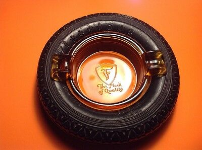 "1920's Antique 5.5"" Firestone gum dipped Balloon Tire Ad Ashtray Amber Glass"