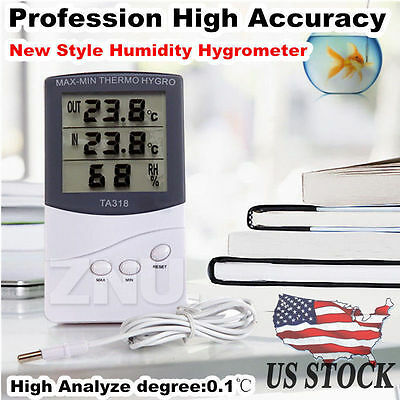 Max Min Switchable Temperature Indoor Outdoor Digital Thermometer And Hygrometer