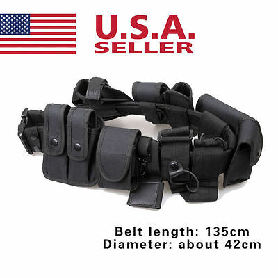 Black Tactical Nylon police Security Guard Duty Belt Utility Kit System w/ Pouch
