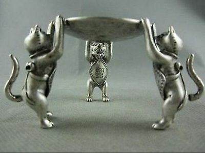 Chinese OLd Tibet Silver Animal 3 Cat oil lamp Candle Holder Candlestick statue