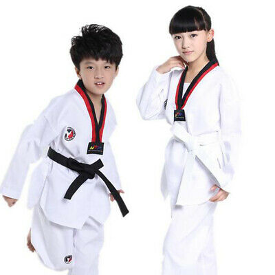 Kids Boys Girls White Tae Kwon Do Uniform Taekwondo Karate Martial Arts Costume
