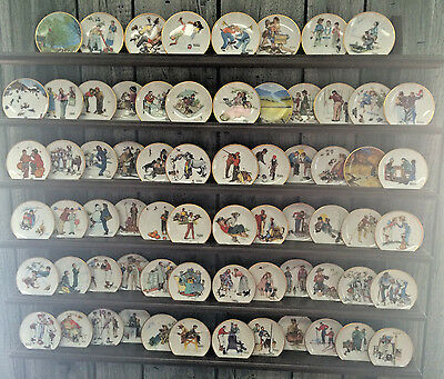 SET of 68 Norman Rockwell Four Seasons Mini Plates FULL Collection w/Wood Rack!