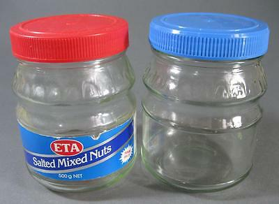 Vintage/retro 80s Eta nuts glass jar x 2 kitchenalia -blue/red plastic lids