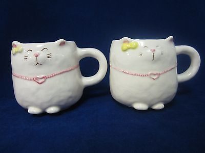 2 Vtg Bitsy & Beau 3D Raised Cat Kitten Mugs Russ Kotobuki Japan