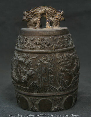 "5"" Marked Antique Chinese Bronze Dynasty Fengshui Beast Dragon Zhong Bell Hang W"