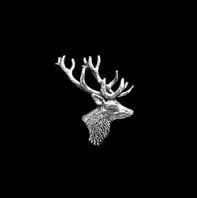 Scottish Pewter Stag Brooch - Deer Head Antlers Profile Pin for Your Cap
