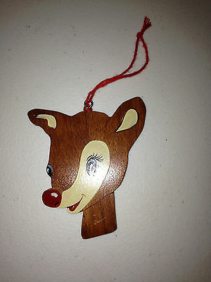 Rudolph The Red Nosed Reindeer hand painted WOOD CHRISTMAS Ornament vtg