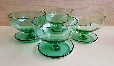 60s Vintage coloured GREEN CRYSTAL Glass DESSERT BOWLS COMPOTES with Saucers X 4