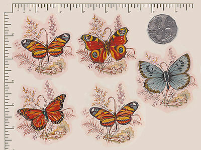 5 x Ceramic decals. Decoupage Vintage butterflies with background PD908