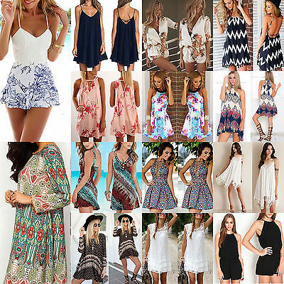 Womens Ladies Summer Playsuit Casual Shorts Beach Party Holiday Romper Jumpsuit