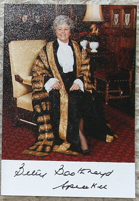 Betty Boothroyd autograph- Speaker of the House of Commons