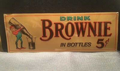 Old Brownie Chocolate Drink Tin Sign. Original Tin Litho Advertising Soda Sign