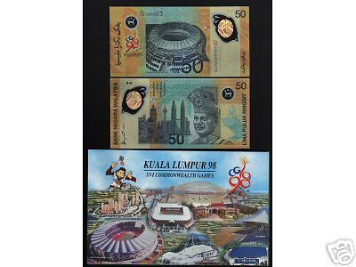 Malaysia 50 Ringgit 1998 Polymer Unc Commemorative Commonwealth Game Note+Folder