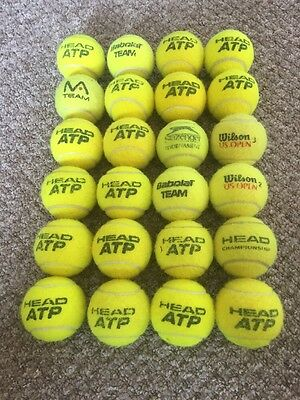 24 Premium Used Tennis Balls - Machine washed! Recreational tennis or for dogs