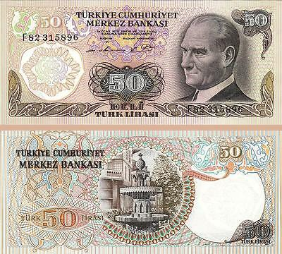 Turkey 50 Lira 1976 Uncirculated P 188 Prefix - F -
